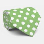 White Polka Dots on Pistachio Green Tie