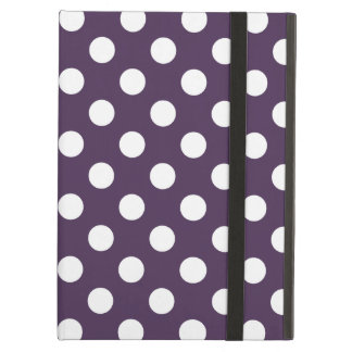 White polka dots on plum purple cover for iPad air
