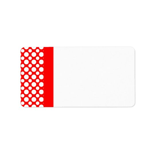 White Polka Dots on Red Address Label
