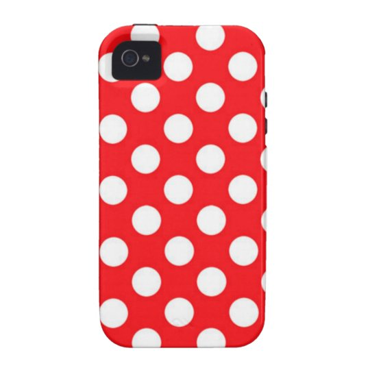 White polka Dots On Red Background Case-Mate iPhone 4 Cases