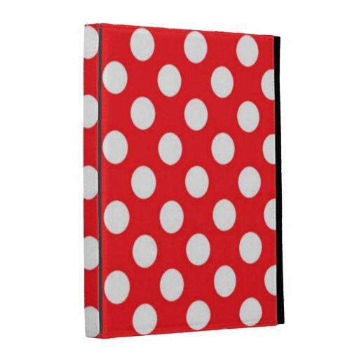 White polka Dots On Red Background ipad Folio Case
