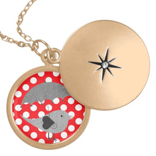 White polka Dots On Red Background Necklaces