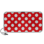 White polka Dots On Red Background Travelling Speakers