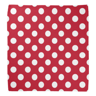 White polka dots on red head kerchiefs