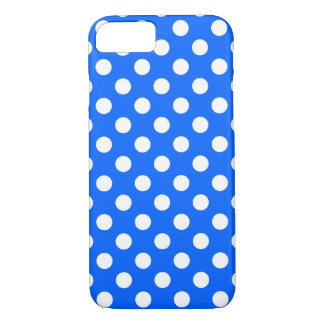 White polka dots on royal blue iPhone 7 case