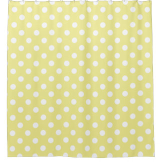 White Polka Dots on Sweet Butter Yellow Shower Curtain