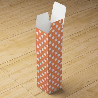 White Polka Dots on Tangerine Orange Wine Bottle Boxes