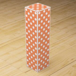 White Polka Dots on Tangerine Orange Wine Box