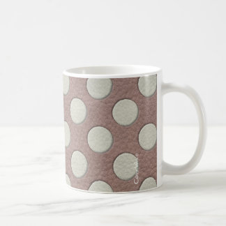 White Polka Dots on Taupe Leather Print Coffee Mug