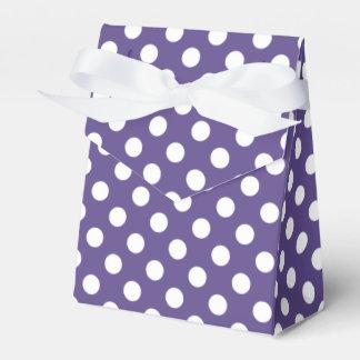 White polka dots on ultra violet favour box