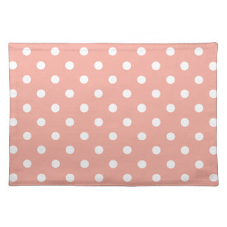White Polka Dots on Vintage Baby Pink Placemat