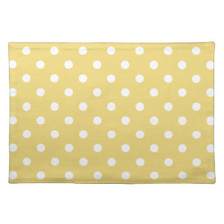 White Polka Dots on Vintage Baby Yellow Placemat