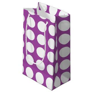 White Polka Dots Purple Small Gift Bag