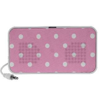 White Polka Dots with Pink Background Speaker System