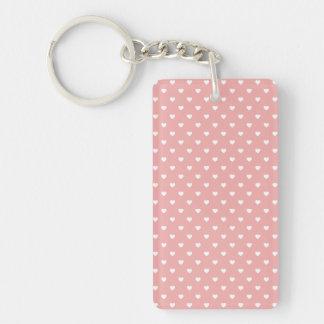 White Polkadot Hearts on Blush Pink Rectangular Acrylic Keychains