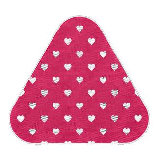 White Polkadot Hearts on Lipstick Pink Bluetooth Speaker
