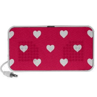 White Polkadot Hearts on Lipstick Pink Travel Speaker