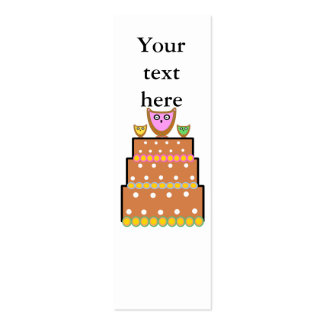 White polkadot owl cake business card template