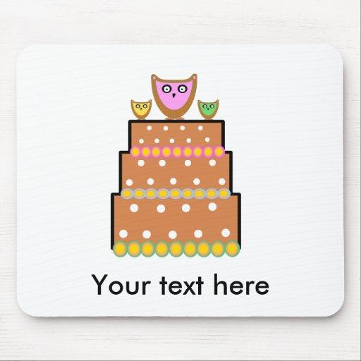 White polkadot owl cake mouse pads
