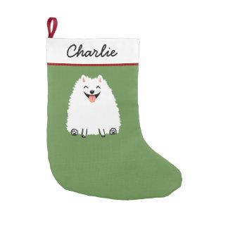 White Pomeranian Cartoon Dog with Custom Text Small Christmas Stocking