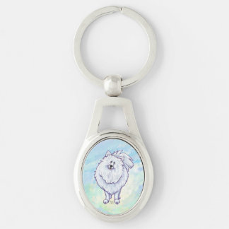 White Pomeranian Gifts & Accessories Silver-Colored Oval Key Ring