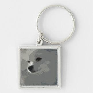 White Pomeranian Keychain