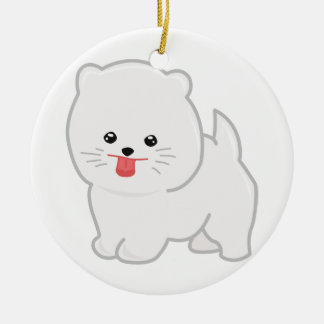 White Pomeranian, Polka Dot Background Round Ceramic Decoration