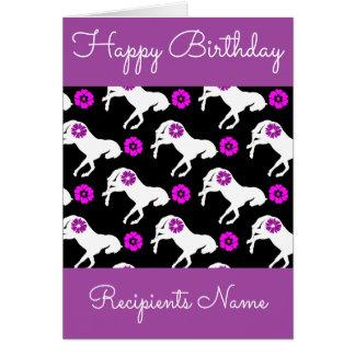 White Ponies Birthday Card - Custom Pony Card