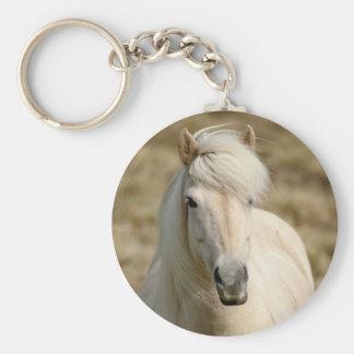 White Pony Basic Round Button Key Ring