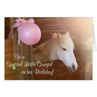 White Pony Cowgirl Birthday Card