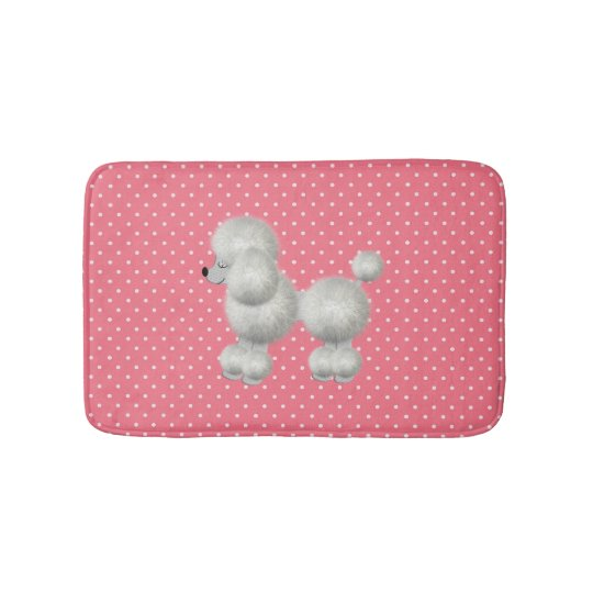 White Poodle Bath Mat