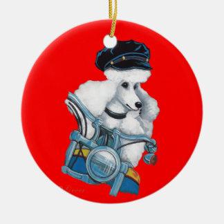 White Poodle Biker Chick Christmas Ornament