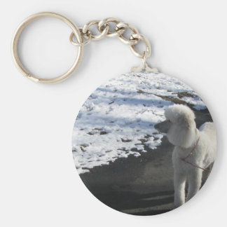 White Poodle by the Snow Key Ring