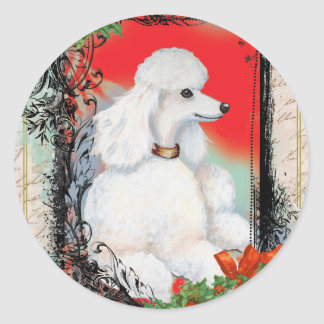 White Poodle Christmas Vintage Style Stickers Tags