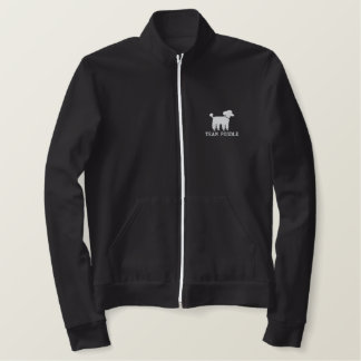 White Poodle Dog Graphic with Text (Customizable) Embroidered Jacket