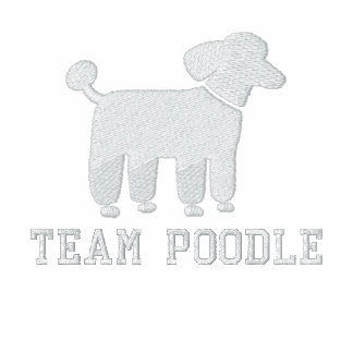 White Poodle Dog Graphic with Text (Customizable) Embroidered Jackets
