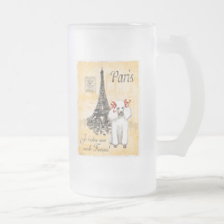 White Poodle Eiffel Tower Vintage Style Print Coffee Mugs