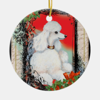 White Poodle & Holly Christmas Christmas Ornament