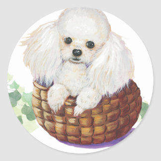 White Poodle in Basket Art Print Stickers Tags