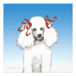 White Poodle in Red Bows Invitation Card
