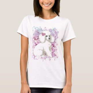 White Poodle in the Lilacs Portrait Tee Shirt