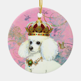 White Poodle King Christmas Ornament