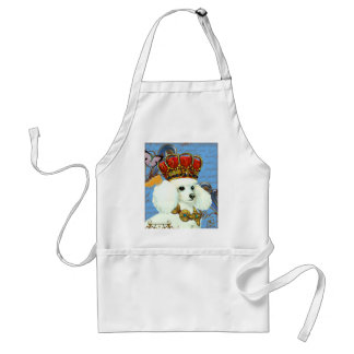 White Poodle King in Crown Standard Apron