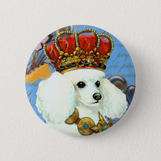 White Poodle King Painting Dress up 6 Cm Round Badge