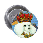 White Poodle King Painting Dress up Pin