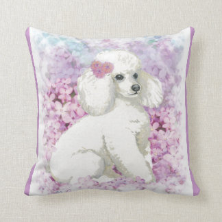 White Poodle & Lilacs Cushion