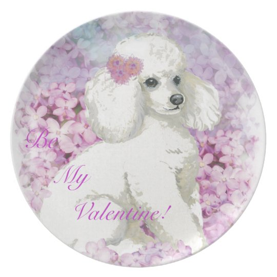 White Poodle n Lilacs Valentine Plate