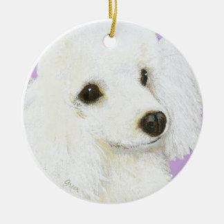 White Poodle Portrait Christmas Ornament