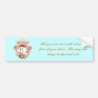 White Poodle Princess n Pink Roses Car Bumper Sticker
