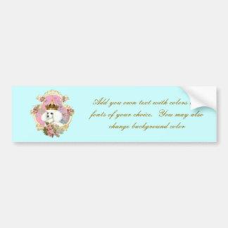 White Poodle Princess n Pink Roses Bumper Sticker